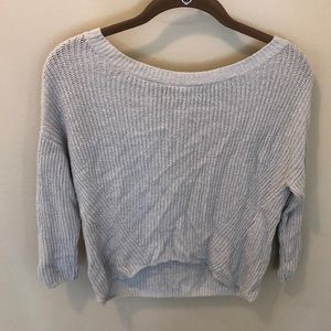 Express Gray Cross Back Sweater